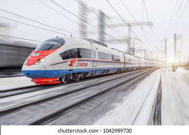 High-speed train Sapsan rides on the route Moscow-St. Petersburg. January 2018.