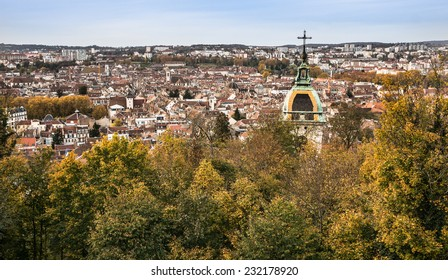 Hight angle view of the city of Besancon in Autumn, Doubs, Franche Comte, France