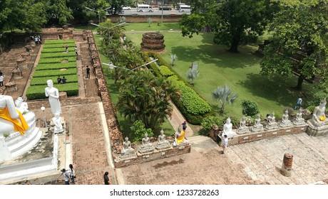 Hight angle of Wat Yai Chai Mongkol, Thailand