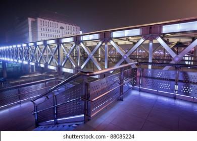 High-tech pedestrian bridge at Beijing Xidan shopping area