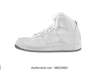 A high-top classic white and gray leather basketball shoe sneaker - isolated on white