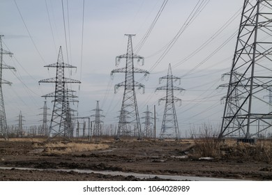 High-voltage electric lines on the horizon