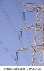 High-voltage line, high voltage poles, Costa Blanca, Spain