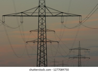 High-voltage line sundown