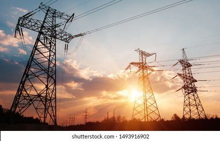High-voltage power lines. Electricity distribution station. high voltage electric transmission tower. Distribution electric substation with power lines and transformers.
