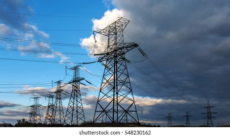 high-voltage  power lines. electricity distribution station. high voltage electric transmission tower.