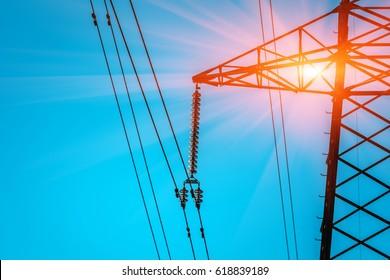 high-voltage  power lines . electricity distribution station .