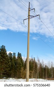 High-voltage power lines in the winter