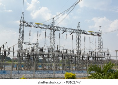 high-voltage substation on blue sky background with switch