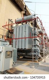 High-voltage substation power transformer at water power plant in sirigit Dam,Thailand