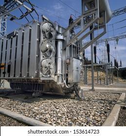 High-voltage supply transformer.