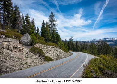 Highway 120, known as Tioga Pass, curving through the Yosemite high country.