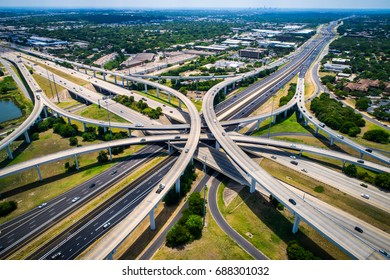 Highway 183 and Mopac Expressway Interstate Highway Interchange Overpass Turn arounds and Transportation Technology Urban Sprawl United States Highway System Austin Texas USA