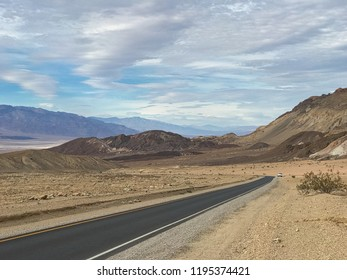 Highway 190 crossing Panamint Valley in Death Valley National Park, California, USA