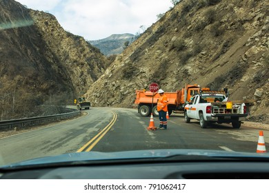 HIGHWAY 33, OJAI, CALIFORNIA - JANUARY 4, 2018: Caltrans working to clear landslides after Thomas Fire and rains destabilized hillsides