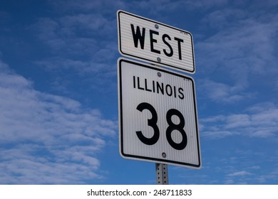 Highway 38 sign in Illinois that runs along the Historic Lincoln Highway.