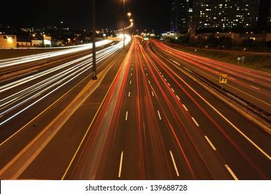 Highway 401 at night night time in Toronto