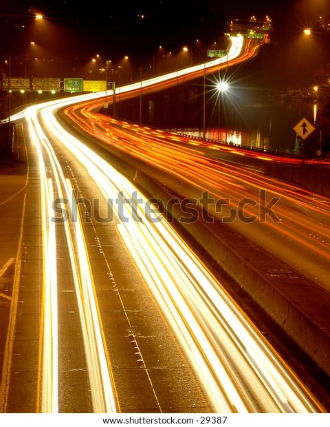 Highway 520 in Seattle at night