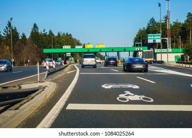Highway A1, Slovenia - 8 April 2018 - Toll station Vransko on the A1 highway in Slovenia. Slovenia is introducing electronic toll system on its highways.
