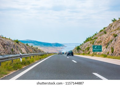 Highway A1 vicinity of Zadar, Croatia, July 1 2018: A1 Highway in Croatia from Zagreb to Split and Adriatic sea is one of the busiest highways during holiday season