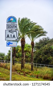 Highway A1A Road sign during a storm in Florida