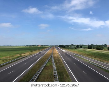 Highway A7 from and towards Sneek in Friesland The Netherlands