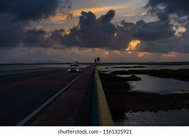 Highway across the dried sea in Pattalung district, Southern of Thailand.
