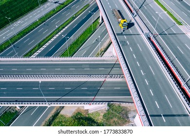 Highway Aerial View. Overpass and bridge. from above. Gliwice, Silesia, Poland. Transportation bird's-eye view.