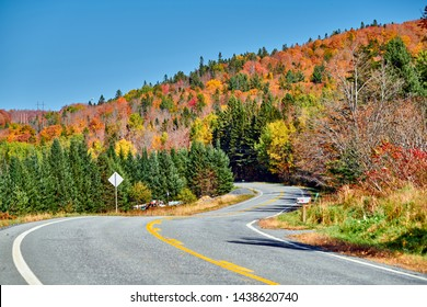Highway at autumn day in Vermont, USA.