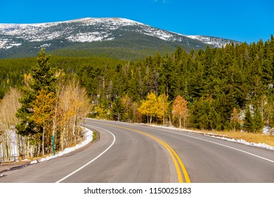 Highway at autumn sunny day in Colorado, USA.
