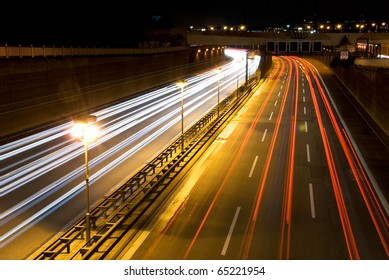 highway in berlin at night with motion blur