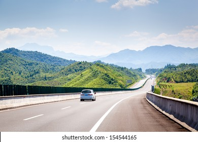 Highway, blue sky, sunny weather