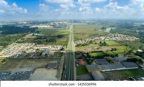 highway BR-277 in Brazil, main connection between Foz do Iguaçu and Paranaguá, this stretch is in Curitiba and São José dos Pinhais on a beautiful sunny day showing a good part of the highway
