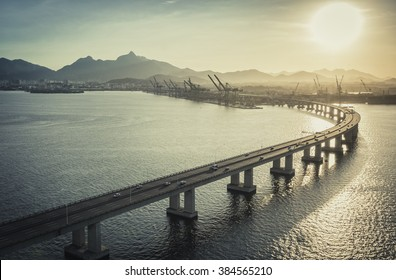 Highway Bridge over the ocean leading to the city, Rio de Janeiro, Brazil