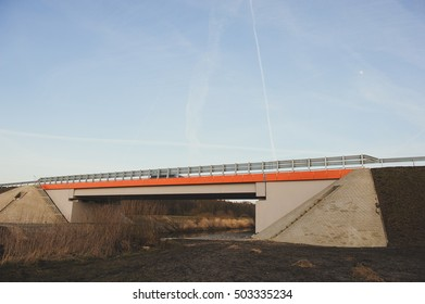 Highway bridge over the River at early spring