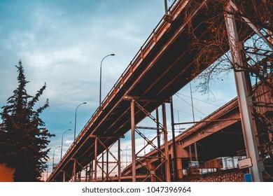 highway bridge in vintage colors