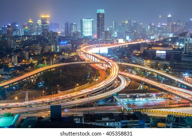 Highway in the city of Bangkok at Night in Thailand