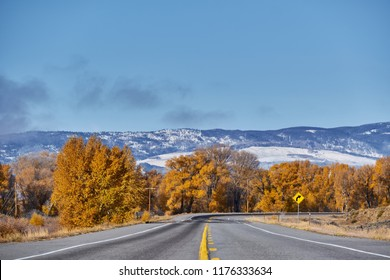 Highway in Colorado at autumn, USA.