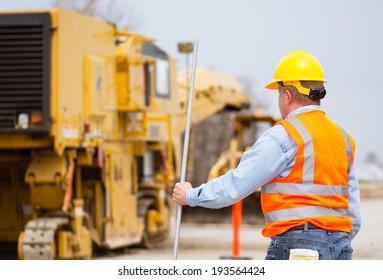Highway construction worker