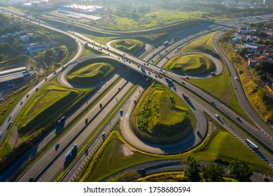 highway crossing in Campinas at dawn seen from above, Sao Paulo, Brazil, sunny day - Shutterstock ID 1758680594