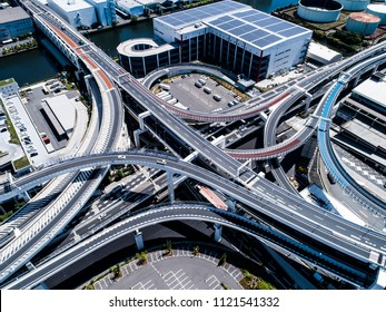Highway crossing complicatedly. Aerial photograph of urban landscape.