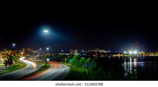 A highway in downtown Portland, Maine at night