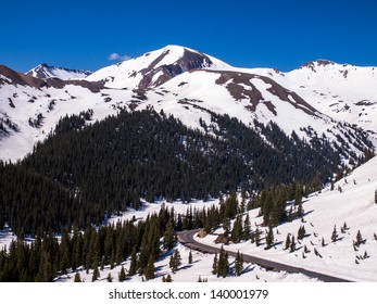 highway dropping back down to tree line, Independence Pass, Colorado