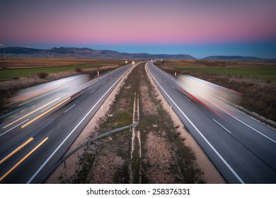 Highway during a sunset