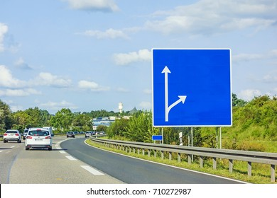 highway with empty signboard (german autobahn) with cars