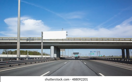 Highway equipment, white bilboard over the road