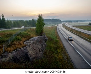 Highway in Finland at dawn