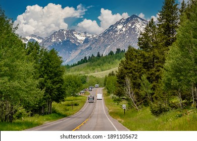 Highway in Grand Teton National Park, Wyoming, USA