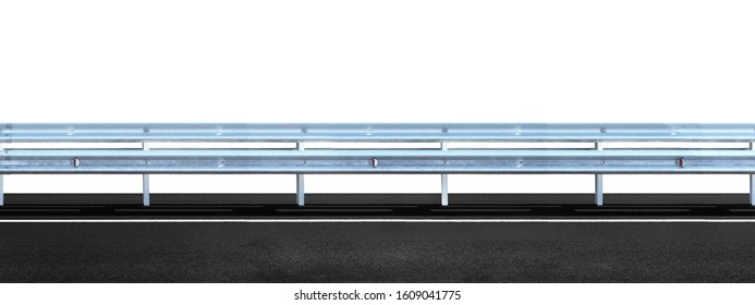 Highway guarding rail isolated on white background,  panoramic view. Barrier of road, dividing strip