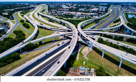 Highway interchange Mopac Expressway and Highway 183 Austin Texas USA transportation overpasses and road ways under summer sun